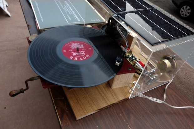Solar Gramophon, an upcycled gramophone connected to solar batteries by Julius Schmiedel.