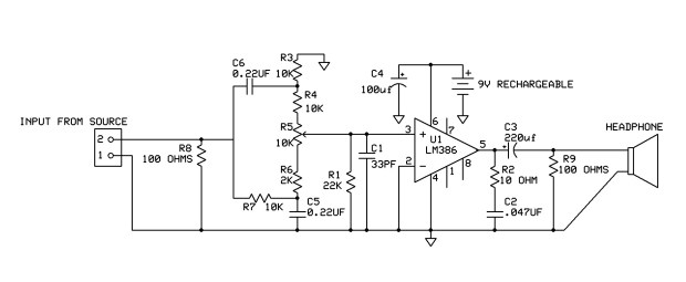 The schematic shows one channel. The left side of the schematic is the input and tone control. The right side is the amp section. The signal comes in from the far left.