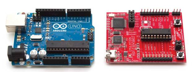 The Arduino Uno and the TI LaunchPad