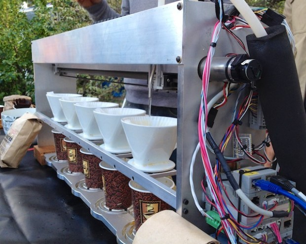 Automated production of five pour-over coffee stations.