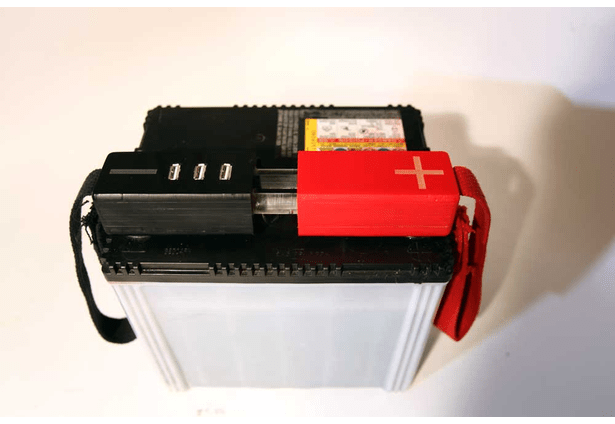 This compact unit provides an efficient and inexpensive power source to charge appliances via USB from a car battery.