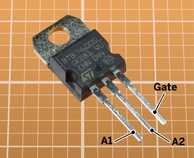 A typical triac, with gate and main terminals identified.