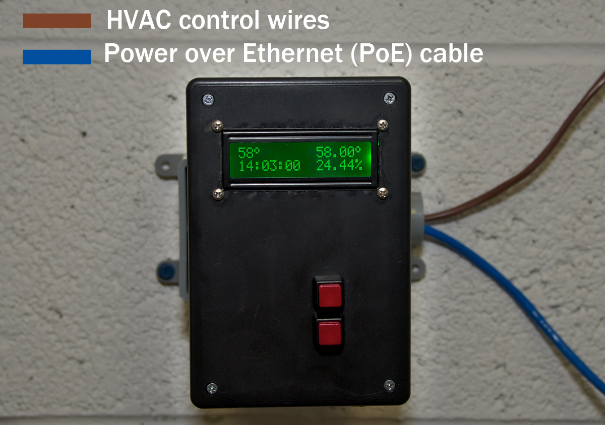 Networked Smart Thermostat Make Electricalcircuitboardhvac Connect The Poe Cable Pairs Splitter To Arduinos Power And Ethernet Jacks Route It Out Its Hole Via Cat5 Injector