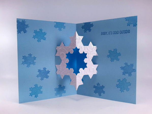 Cut and Fold a Pop-Up Snowflake Greeting Card