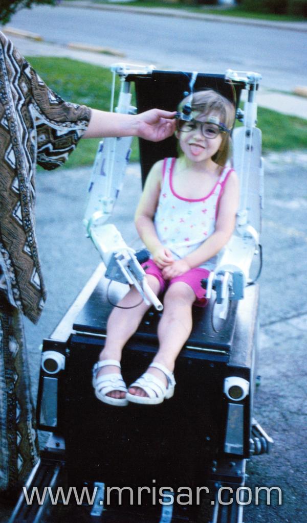 Aurora testing MRISAR's Symbiotic Terrain Robotic Assist Chair (STRAC), 1999.
