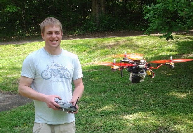 TJ Johnson flying an early prototype of Pocket Drone.