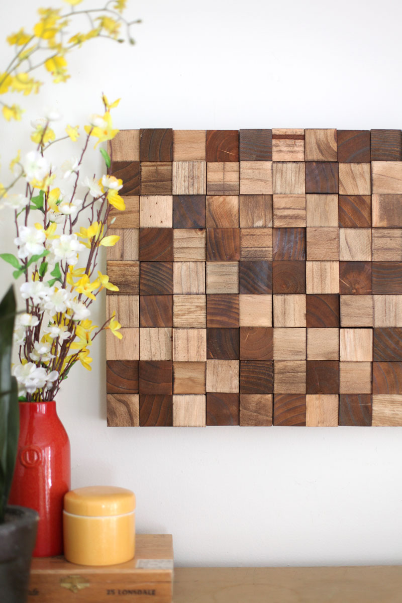 wooden block mosaic