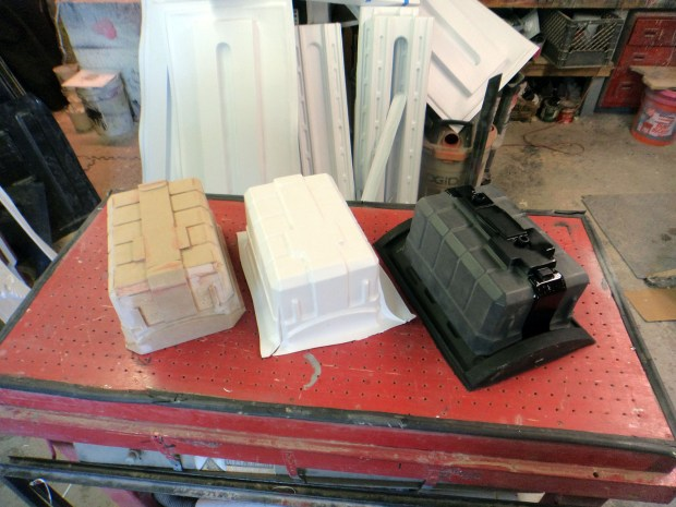 Left to Right, forming buck, raw formed part, trimmed and painted part.