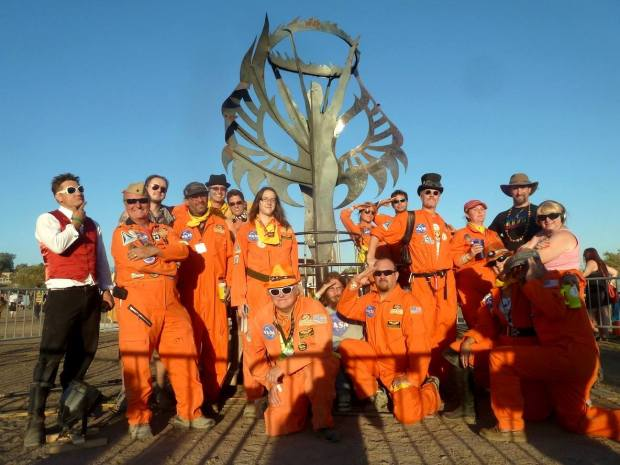 "Many of the Desert Wizards of Mars crew post in front of the ""Human Spirit"" at the 2013 Los Angeles Decompression. Image by Ray Cirino"