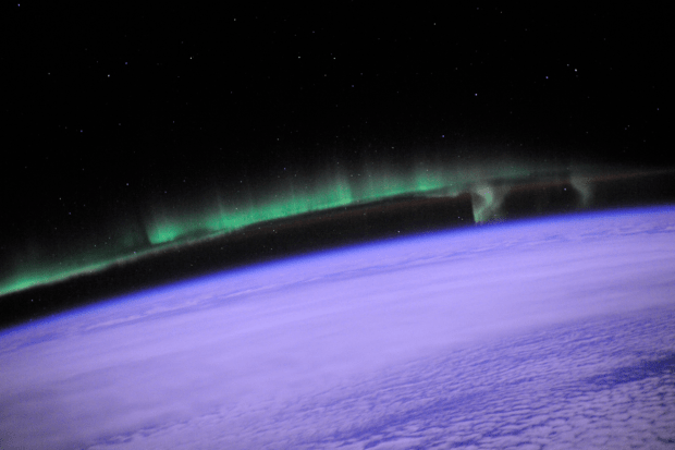 Aurora viewed from the ISS in low earth orbit, image courtesy NASA