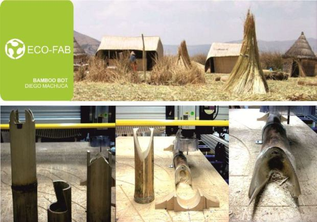 Diego Machuca's project for the integration between digital manufacturing with unindustrialized materials: bamboo, reeds, mud, etc.