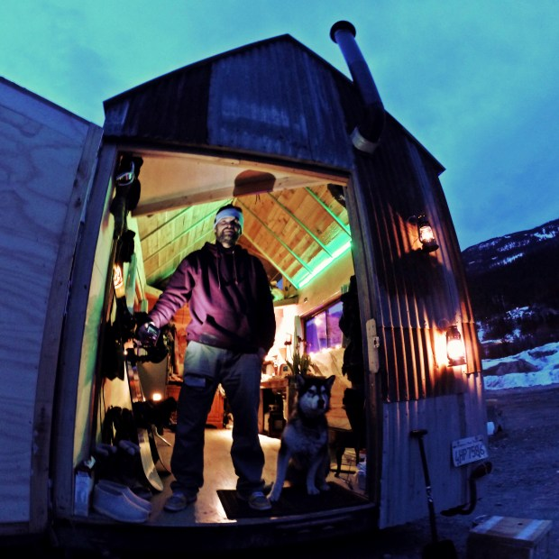 Inside and outside of Basich's newest project: the DIY home on wheels.