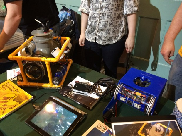 Home designed and built ROV (left) and an OpenROV kit (right).