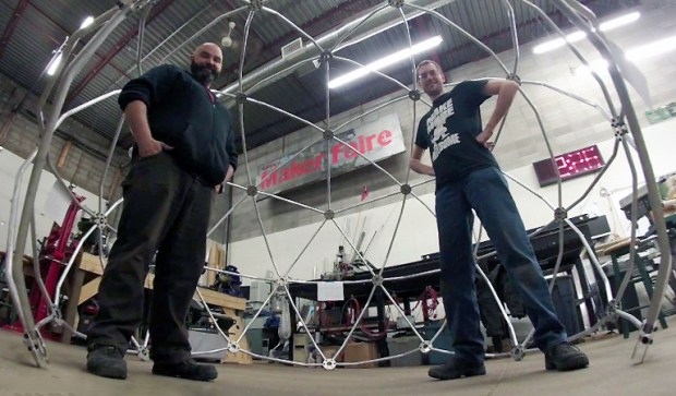 Kevin Loney (right) and Jim Akeson with completed Argus dome frame.