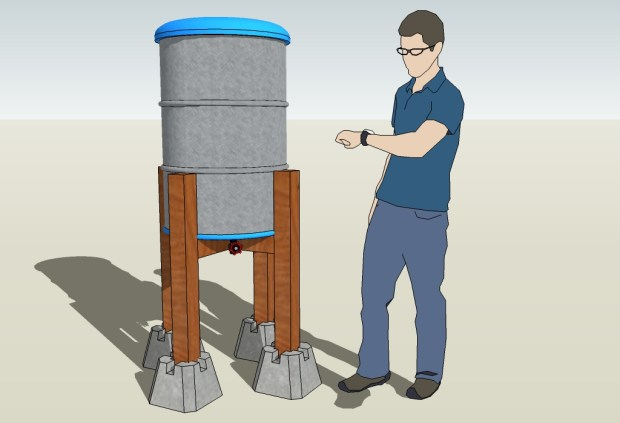 My initial concept rendering, with former MAKE product development engineer Eric Weinhoffer for scale.