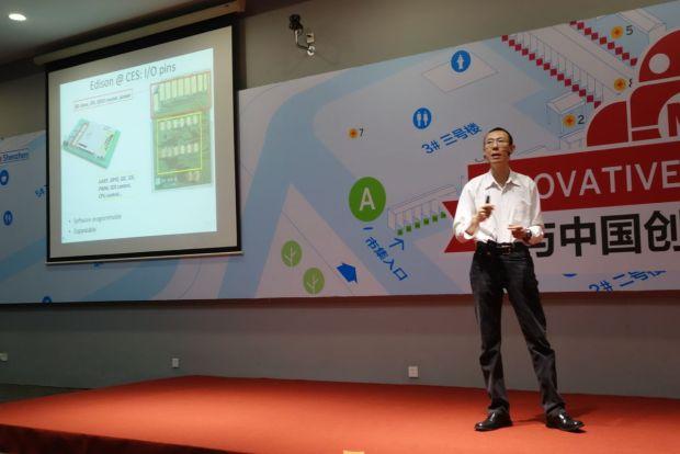 Randolph Wang of Intel Labs China introduces the Edison board.