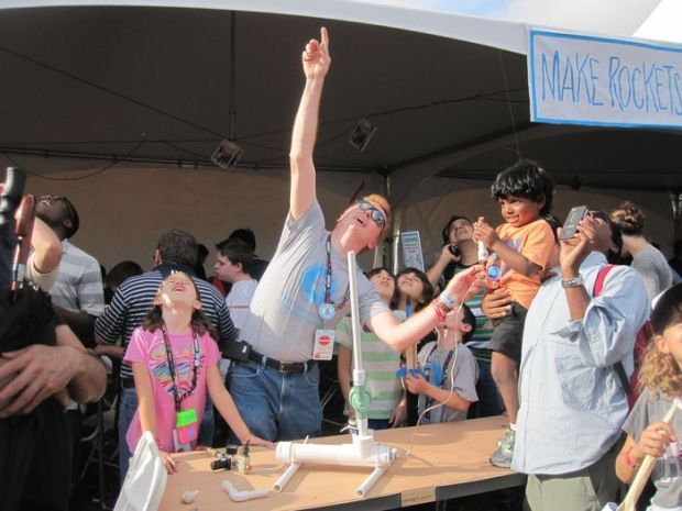 Keith and his kids sharing some rocket fun with the crowds at Maker Faire New York