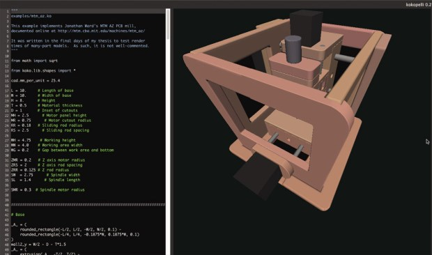 """Inspired by Brett Victor's """"Inventing on Principle."""" The left pane shows Python source code; the right pane shows the rendered model, which is updated in real time as the code changes."""