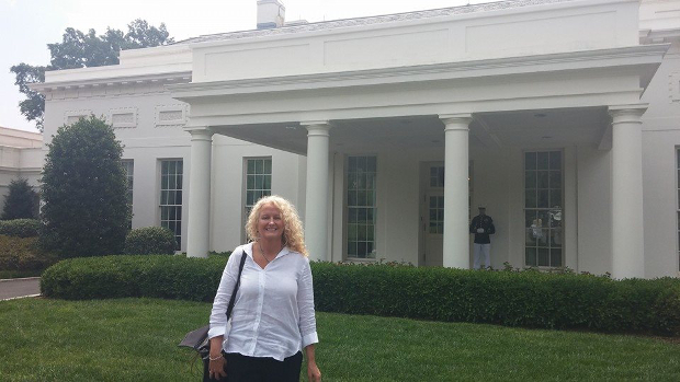 Suzanne Gwynn outside the White House during the White House Maker Faire