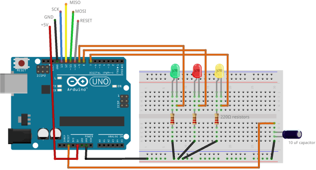 Wiring an Arduino Uno to make it into an AVR Programmer