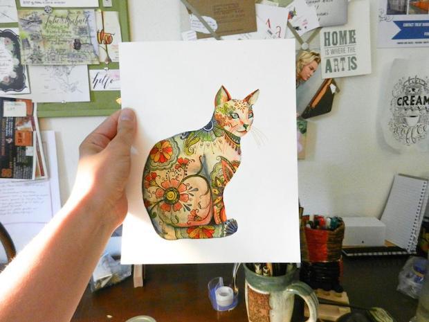 inkstruck_watercolor_henna_cat_illustration_01