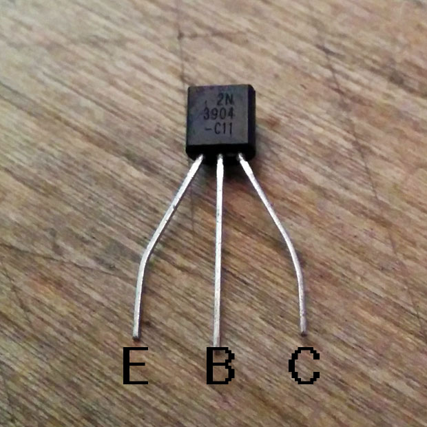 From right to left, this transistor's leads are the Collector, Base, and Emitter.