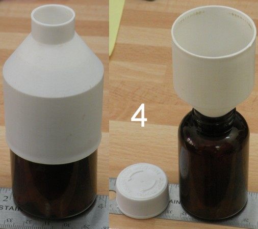 This custom funnel fits over a pill bottle and is used to refill it when necessary. Custom funnels to fit particular containers are a frequent print of mine.