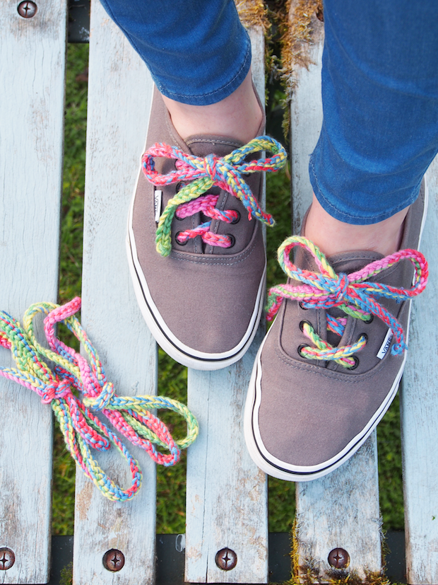 How-To: Crocheted Rainbow Shoelaces