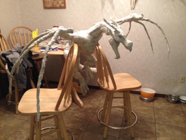 paper mache dragon sculpture make. Black Bedroom Furniture Sets. Home Design Ideas
