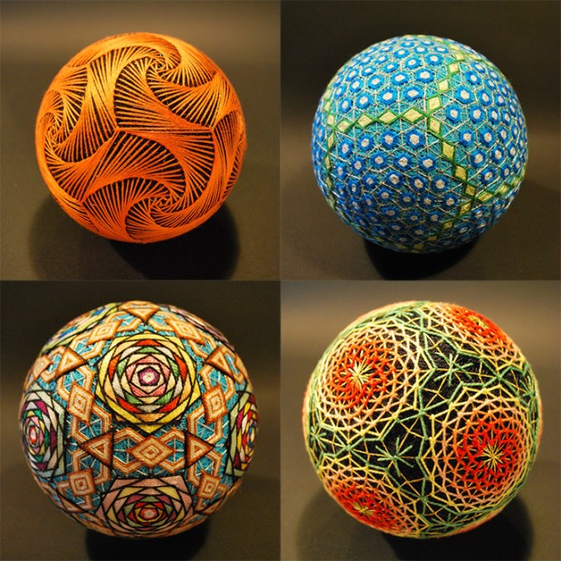 These Temari (handball) handballs were hand embroidered with care by a 92-year old grandmother