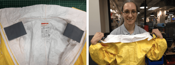 Collar tabs used in a peeling action to safely remove back-entry PPE suit