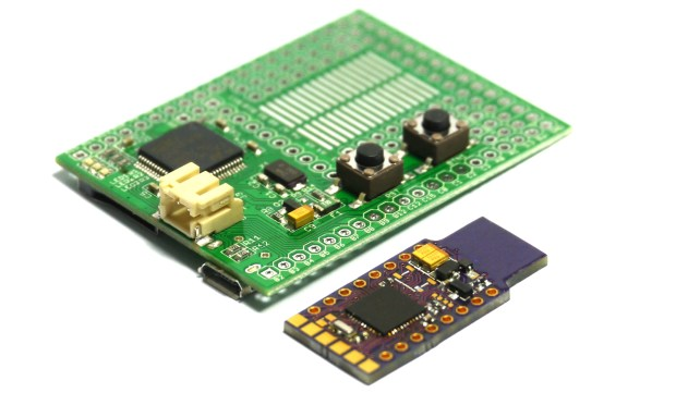 The original Espruino board (left) and the new Espruino Pico board (right)