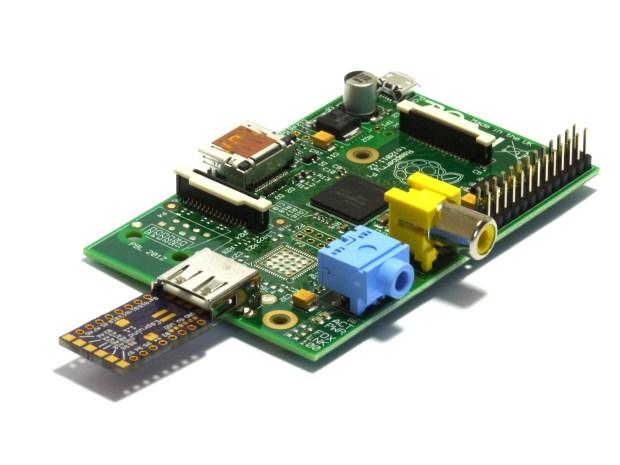 The Espruino Pico plugged into a Raspberry Pi for programming.