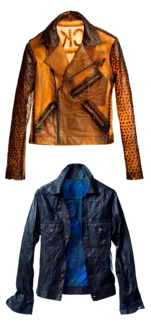 """Suzanne Lee's designer jackets whose """"fabric"""" was grown by fermenting sweet tea with a culture of yeast and bacteria, then sewn together and dyed them with indigo (and other natural dyes). Image via Xsead"""