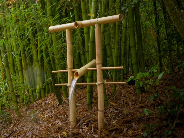 Make a Bamboo Water Fountain to Frighten Critters from Your Garden