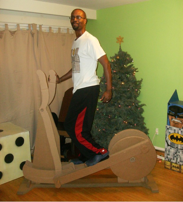 100% made out of cardboard and can hold up to 200lbs.