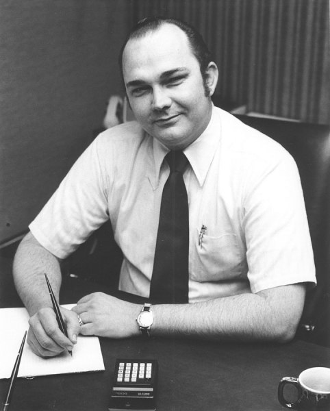 Ed Roberts, president and chief engineer of MITS. I took this photo for the back cover of Electronic Calculators (1974), a book we co-authored. This photo was taken in Ed's office about 20 feet from where Bill Gates would end up a few years later.