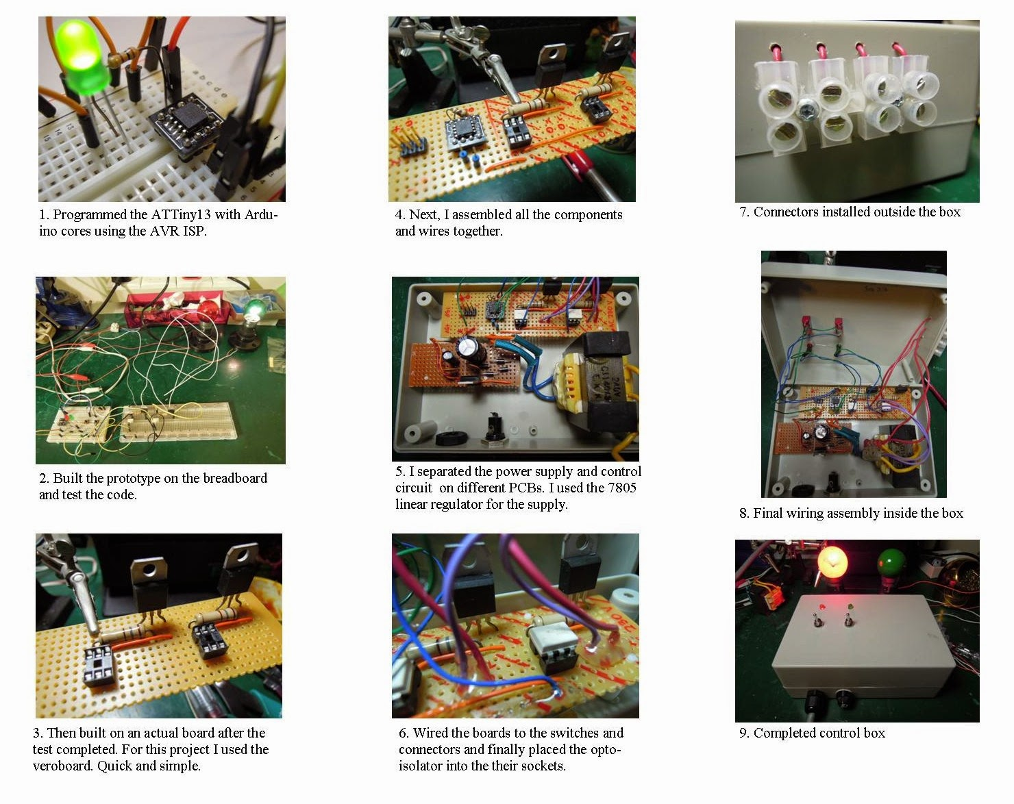 Building A Retro Sign Board Complete With Sequenced Lights Make Finally Here Are My Perfboard Layouts And Some Pictures Bernards Layout Atmels Attiny13 Microcontrollers Outfitted Arduino Cores