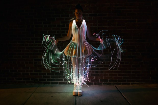 Inspired by jellyfish, this beautiful, bouncy dress uses 360 fiber-optic cables cut to different lengths to create the layered look. A kit is available online, or you can follow the online instructions and make it from scratch.  Photographed by Audrey Love