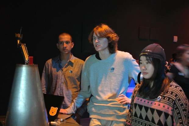 Vega (left) and Karashchuk explain how to use the BCI. Photo: Nathan Hurst