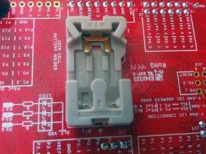 Coin cell battery holder on the underside of the board.