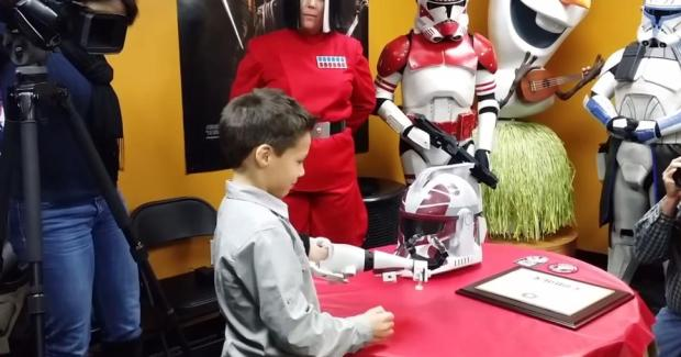 Liam Porter sporting his 3D printed Clone Trooper prosthetic that was designed by John Peterson with E-Nable.