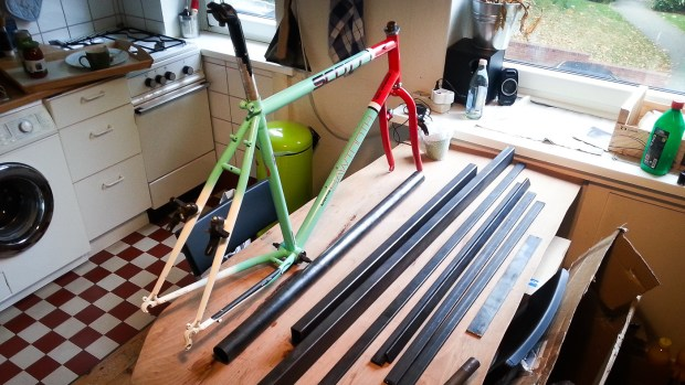 The build started with a '90s Scott steel mountain bike frame.