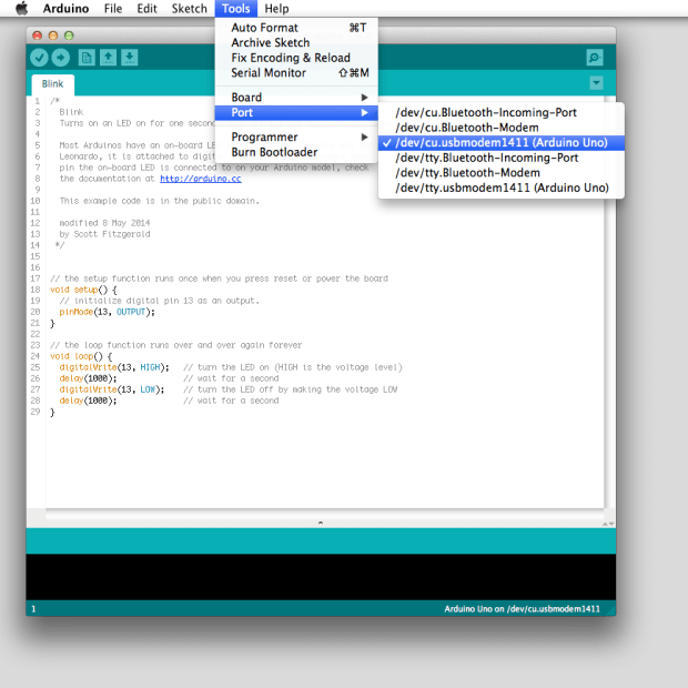 The new Arduino IDE showing off the new board detection feature — boards are detected and listed on 'Port' menu along with the serial associated port.