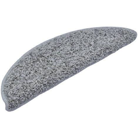 Carpet Stair Treads 15 Pcs Grey 56x20 Cm