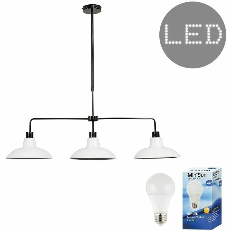 3 Way Rise Fall Suspended Over Table Ceiling Light 6w Led Gls Bulbs White 01087
