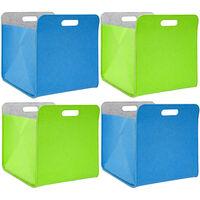 4 boites de rangement feutre 33x33x38 cm kallax panier feutrine ikea bleu vert