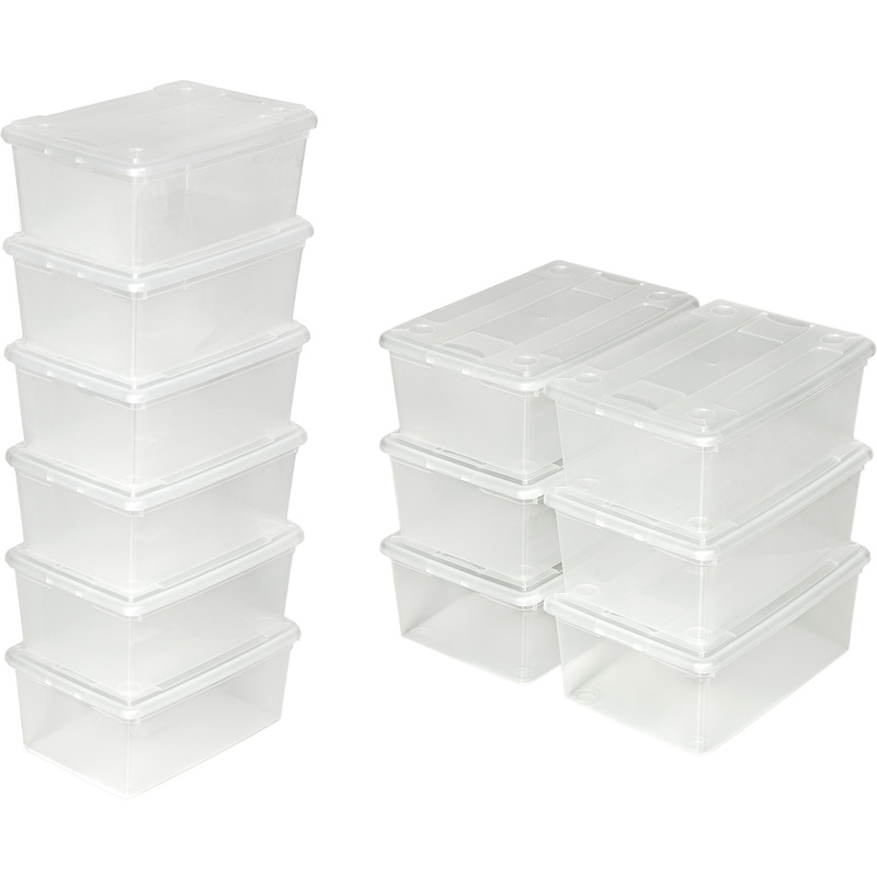 48 boites de rangement en plastique transparent 33 cm x 23 cm x 12 cm