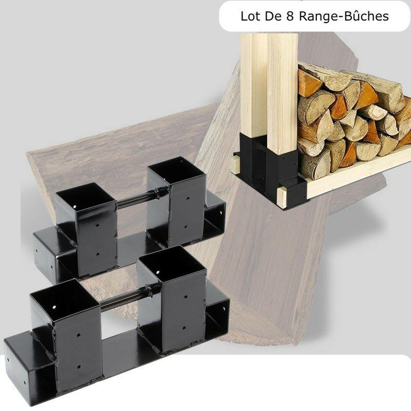 8 range buches supports en metal pour rangement du bois de chauffage