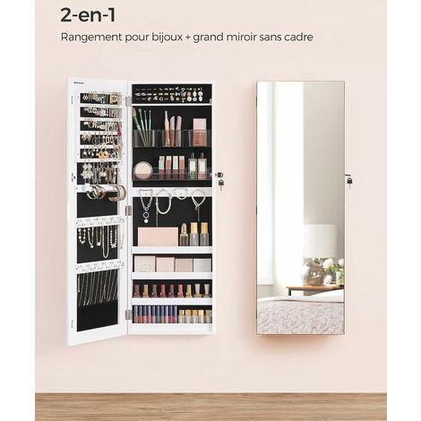 Armoire A Bijoux Murale Range Bijoux Avec 2 Organisateurs Cosmetiques A Suspendre Miroir Psyche Sans Cadre Avec Serrure Et Cles Blanc Jjc001w01